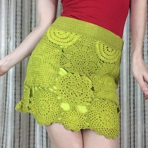 Gianni Bini Lime Crochet Boho Mini Skirt